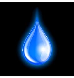 Blue shiny water drop vector image