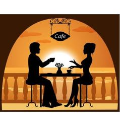 couple in a cafe on the beach at sunset vector image vector image