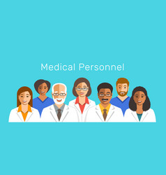 doctors and nurses team smiling faces vector image