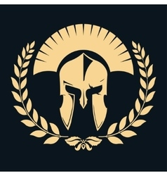 Gladiator silhouette with laurel wreath vector image vector image