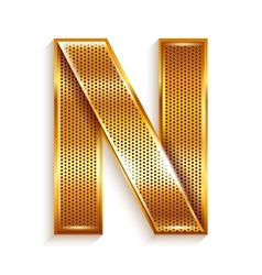 Letter metal gold ribbon - N vector image vector image