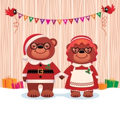 Married couple bear Santa Claus and his wife vector image vector image