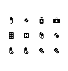 Pills medication icons on white background vector image vector image