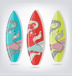 set of surfboards with fish vector image