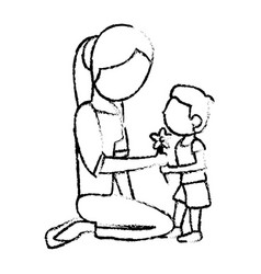 sketch mother and son with flower vector image