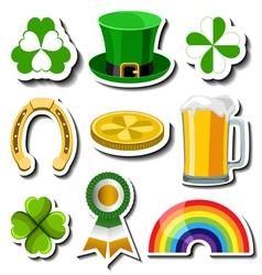 St Patricks day sticker set vector image