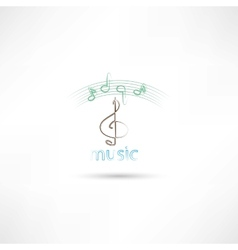 treble clef and music vector image
