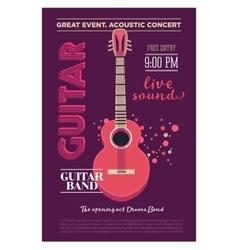 Acoustic guitar concert flyer template Retro vector image vector image