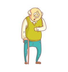 an elderly man with cane suffering from heart pain vector image