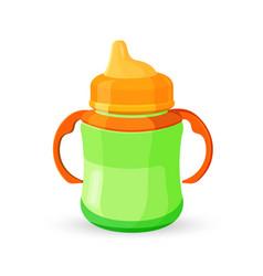 baby cup bottle green orange translucent drinking vector image