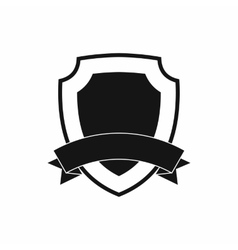 Black shield with ribbon icon simple style vector image vector image