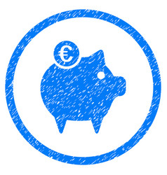 euro piggy bank rounded grainy icon vector image