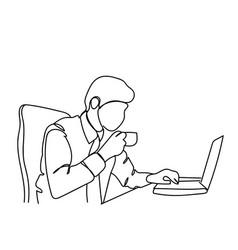 doodle business man drink coffee or tea working vector image