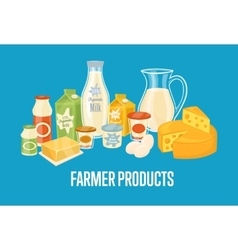 Farmer products banner with dairy composition vector image vector image