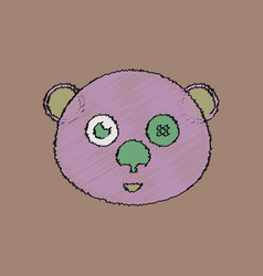 Flat shading style icon teddy bear face vector