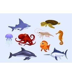 set of stylized cartoon underwater animals vector image