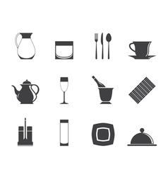 Silhouette restaurant and bar icons vector image
