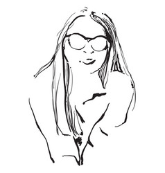 the girl in sunglasses vector image vector image