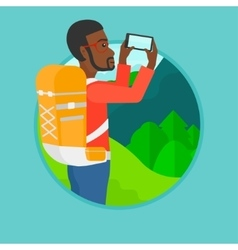 Tourist with backpack taking photo vector image vector image