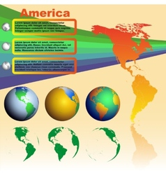 America map on yellow background with world globes vector image vector image