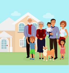 big happy caucasian family vector image