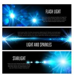 blue light effect banner set with star shine vector image