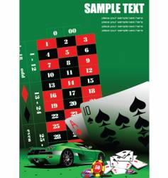 casino elements with sport car vector image vector image