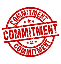 Commitment round red grunge stamp vector