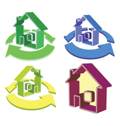 house recycle icons vector image
