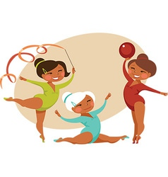 Little gymnasts vector image