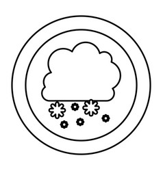 silhouette cloud snowing icon vector image