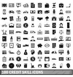 100 credit skill icons set simple style vector