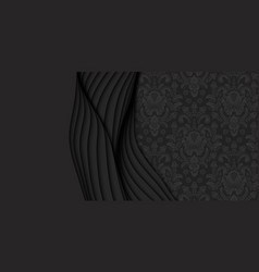 3d abstract dark background with paper cut vector image