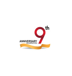 9 anniversary design logotype red color vector