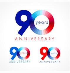 90 anniversary red blue logo vector