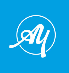 a and y initial letter logo template on bright vector image