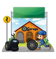 A boy pushing the tire below the empty signboard vector