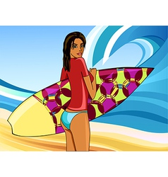 a girl with a surfboard vector image