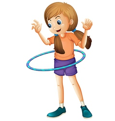 A pretty teenager playing with the hulahoop vector