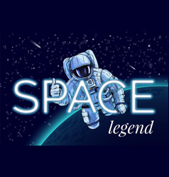 austronaut in space glowing text stars vector image