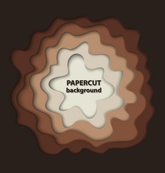 background with brown paper cut shapes 3d vector image
