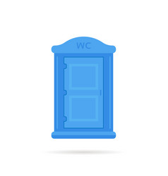 blue simple portable toilet icon vector image