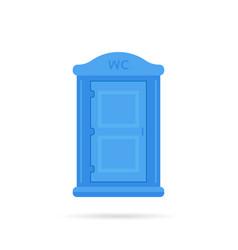 Blue simple portable toilet icon vector