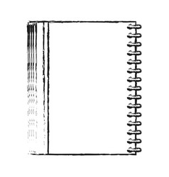 Blurred silhouette image notebook spiral closed vector