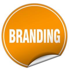 branding round orange sticker isolated on white vector image