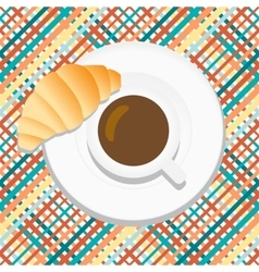 Cartoon coffee With croissant vector