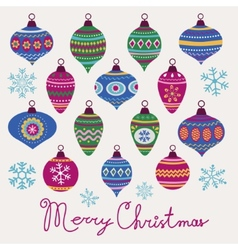 Christmas baubles card vector