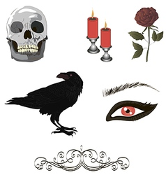 Collection of gothic details vector