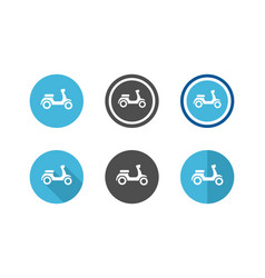 collection scooter circle icons motorcycle vector image