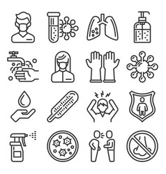 coronavirus ncov medical and hygiene icons set vector image